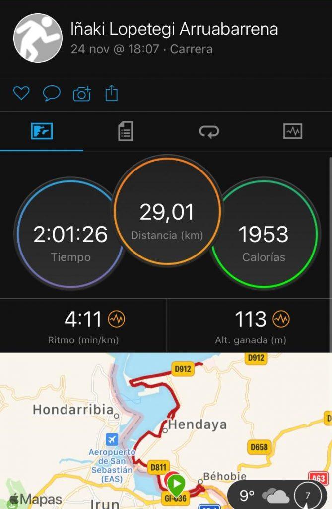 29 kms de tirada maratón